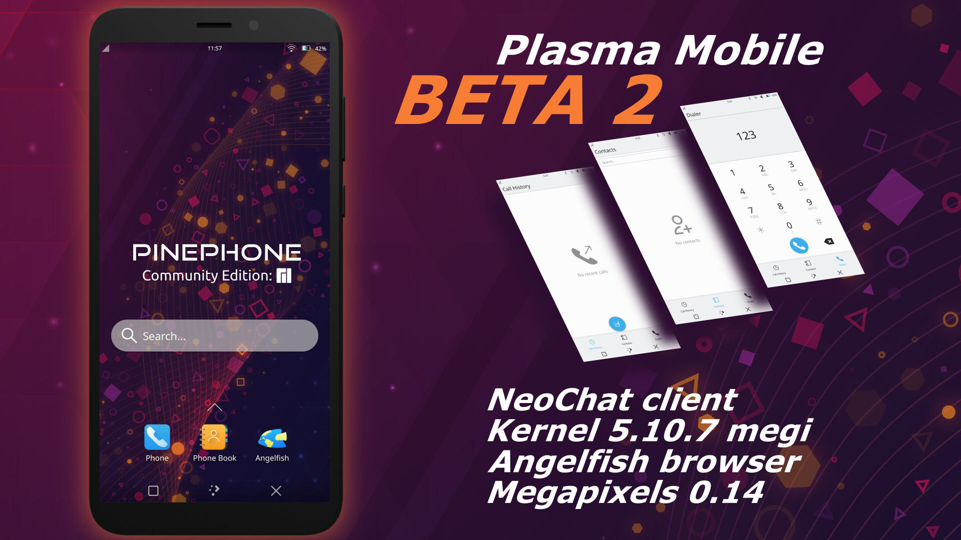 The second BETA version of Plasma-Mobile for PinePhone