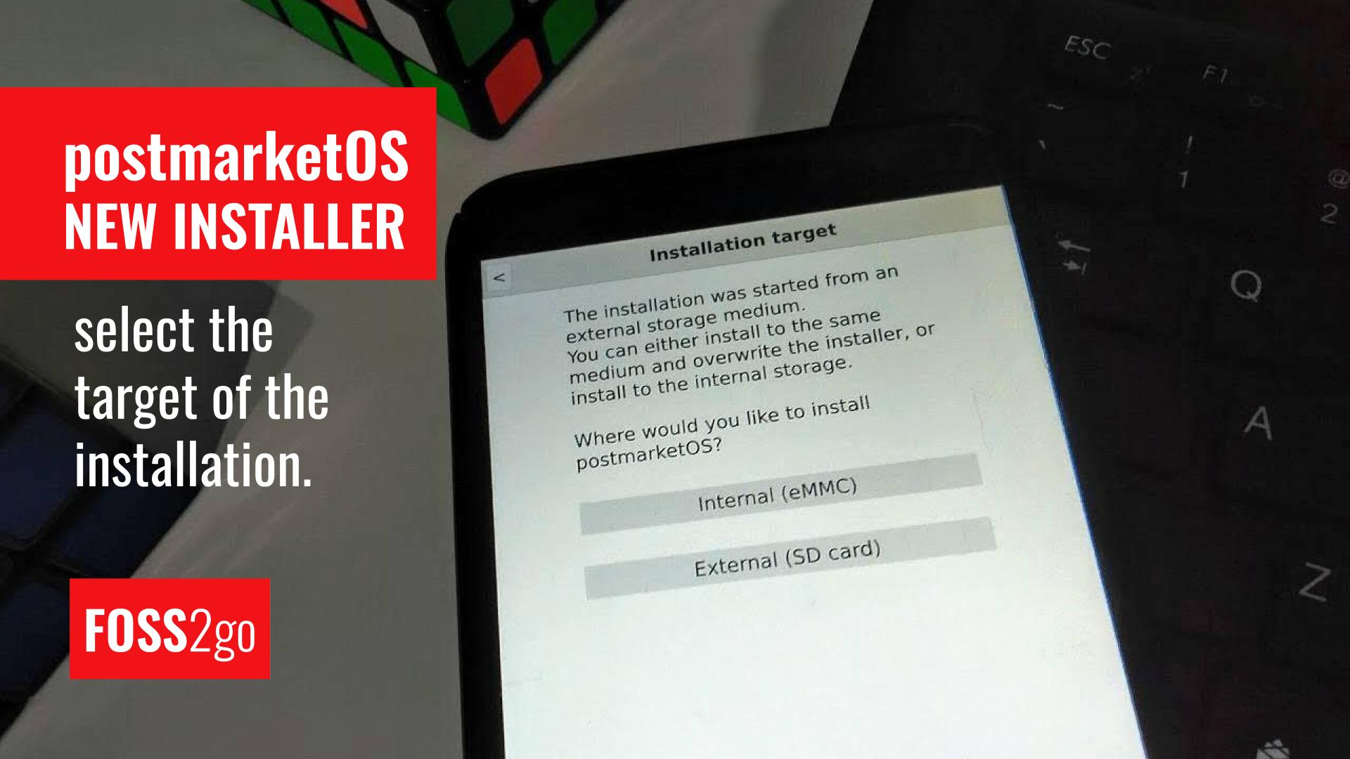 New postmarketOS installer - select the target of the installation