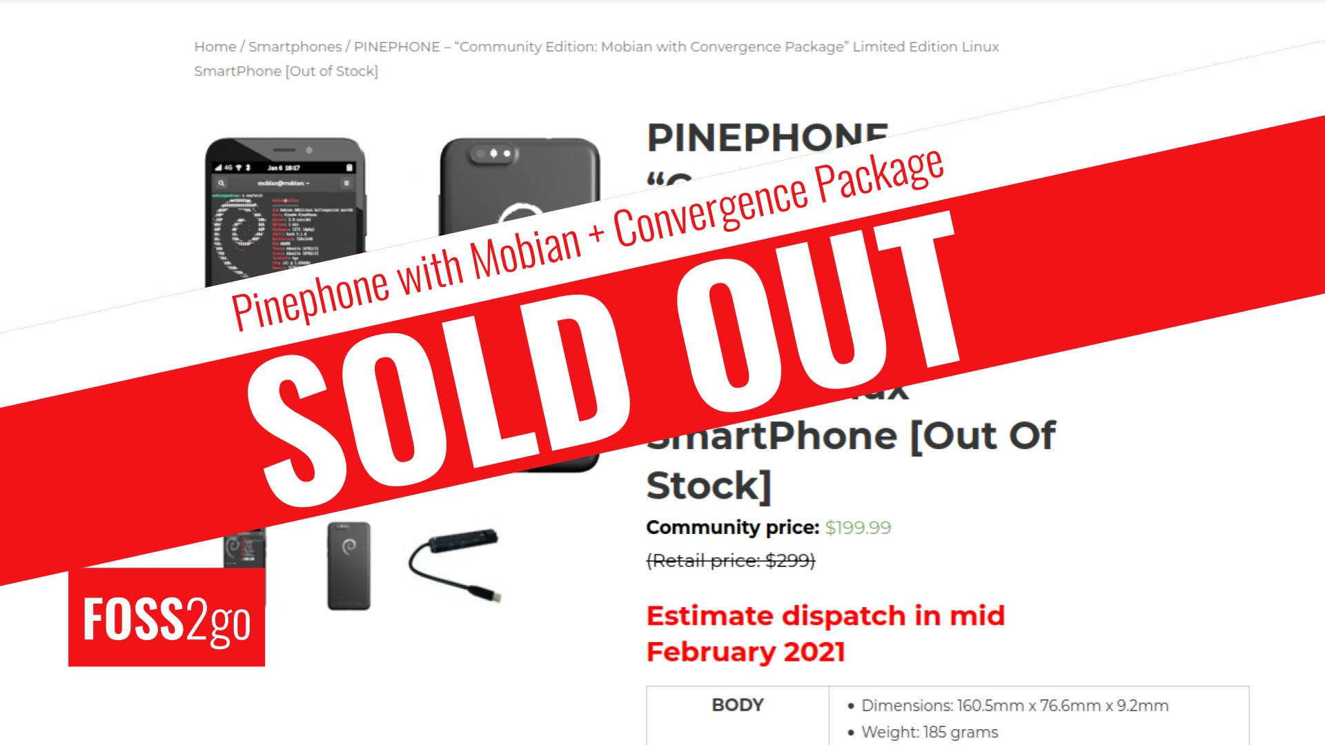 Pinephones CE Mobian with Convergence Package - SOLD OUT