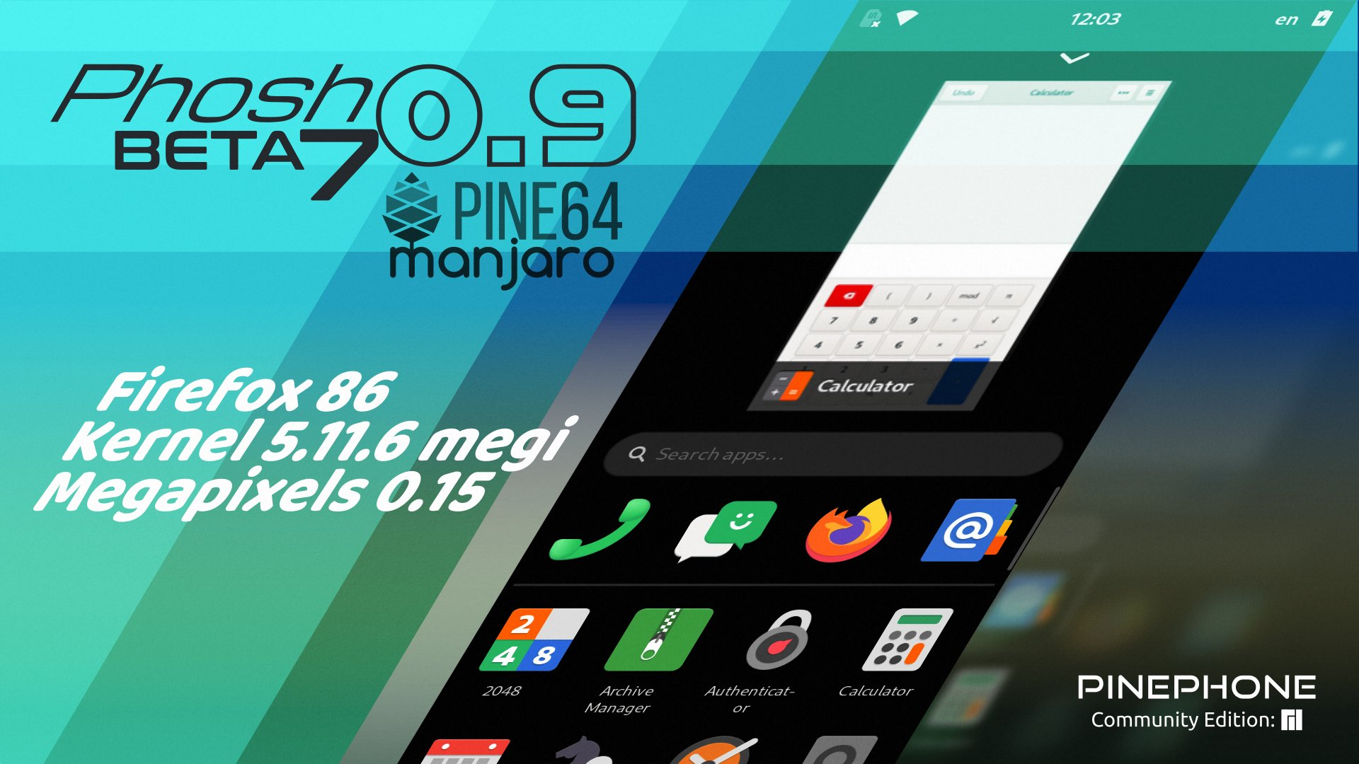Manjaro ARM Beta7 with Phosh for PinePhone
